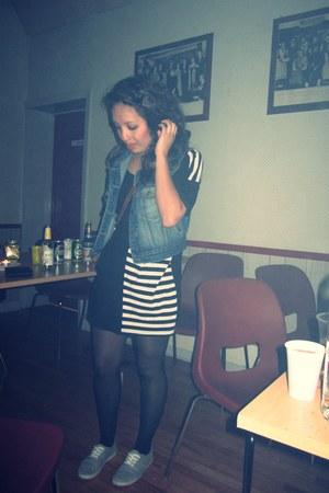 black Monki dress - heather gray H&M shoes - blue Secondhandond vest