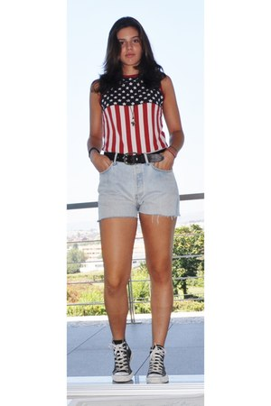 501 Levis shorts - usa flag Levis top - D&G belt - Converse sneakers