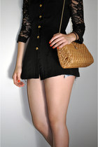 teal Levis shorts - black lace versace blazer - nude chord bag unknown brand bag
