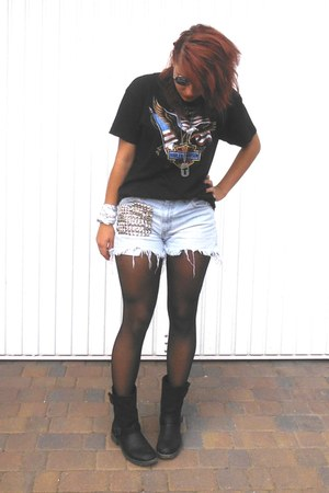 light blue jeans DIY shorts - black t-shirt