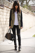 army green leather sleeves jacket - black boots - gray destroyed jeans