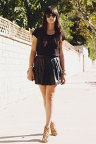 tan strappy heels - black shirt - black leather skirt - gold bracelet