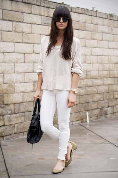 white pants - off white sweater - gold spiked flats