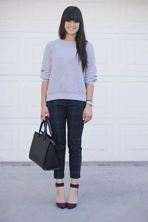 navy tartan pants - heather gray sweater - purple heels