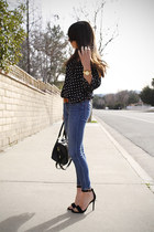 navy polka dot shirt - black double strap sandals
