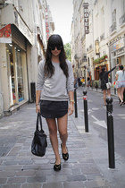heather gray weekday sweatshirt - black weekday skirt