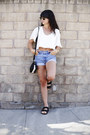 Sky-blue-high-waisted-levis-shorts-white-cropped-for-love-lemons-top