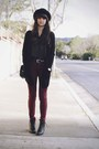 Black-boots-maroon-jeans-black-polka-dot-shirt-black-h-m-cardigan