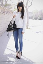 black heels - sky blue jeans - white sweater - black polka dot blouse