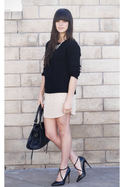 black cable knit sweater - light pink pearl skirt - black strappy pumps