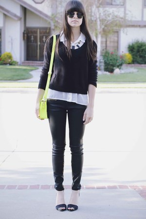 yellow bag - black necklace - black heels - black waxed pants