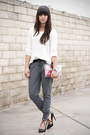White-sweater-heather-gray-leather-trim-pants-black-strappy-pumps
