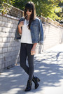 Black-ankle-strap-boots-charcoal-gray-car-mar-jeans-blue-jean-jacket