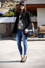 Black-coat-heather-gray-polka-dot-sweater-black-bag-black-strappy-pumps