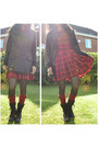 Dark-brown-lace-up-suede-rockport-boots-ruby-red-parisian-dress