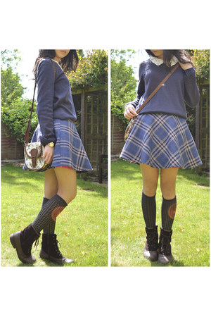blue red herring skirt - dark brown Clarks boots - gray knee-high Pringle socks