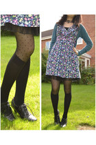 black spotty new look tights - navy floral new look dress