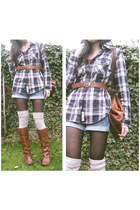 burnt orange Safiya boots - navy chequered Superdry shirt
