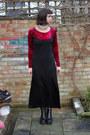 Black-leather-vagabond-boots-black-maxi-dress-charity-shop-dress