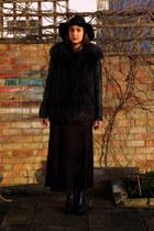 black leather vagabond boots - black maxi dress charity shop dress
