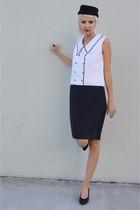 vintage shoes - white mod colorblock vintage dress - black H&M hat