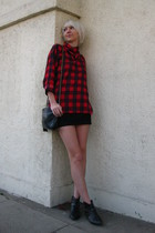 red vintage shirt - black Silence & Noise skirt - black Chanel purse - black vin