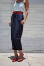White-vintage-top-blue-vintage-pants-red-vintage-belt-red-vintage-shoes