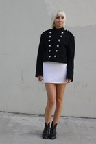 black vintage lace up Joan and David boots - white bodycon vintage dress - navy
