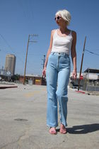 blue Pizzazz jeans - white H&M top - pink none sunglasses - pink H&M shoes