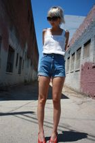 white vintage from Castaway Vintage top - red wedges C Ronson shoes