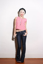 navy bell bottoms Paige jeans - red striped tank vintage top - brown Cynthia Vin