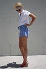Beige-bdg-hat-white-judy-bond-shirt-blue-sears-jr-bazaar-shorts-red-c-rons