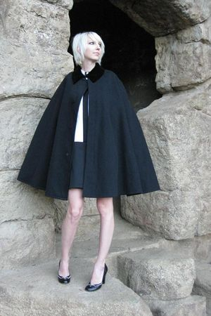 black vintage cape Henderson James Co coat