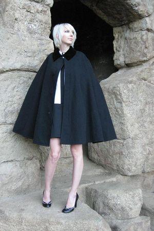 black vintage cape Henderson James Co coat