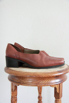 Vintage 1980s Western Style Brown Leather Slip on Loafers 6.5 7