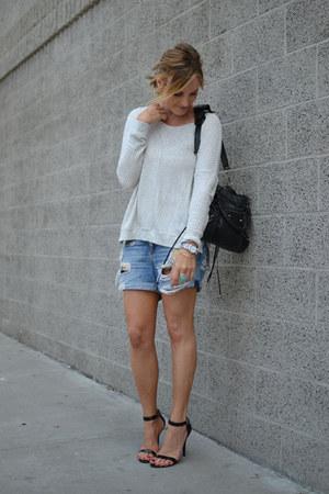 Velvet by Graham & Spencer sweater - balenciaga bag - rag & bone shorts