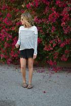 random brand shorts - striped H&M sweater - random brand sandals