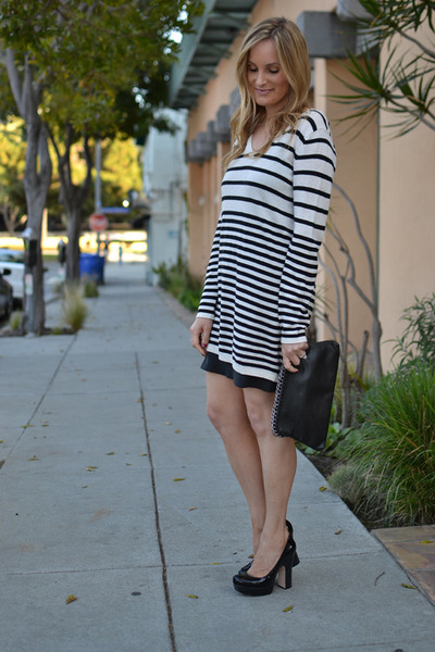 slip dress JCrew dress - H&M sweater - Forever 21 bag - Alice  Olivia heels