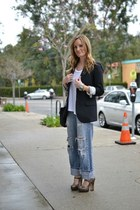 navy vintage levis jeans - black JCrew blazer - black Chanel bag