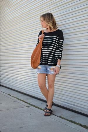 black striped H&M sweater - tawny shoulder linea pelle bag