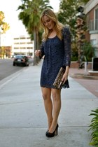 navy lace dvf dress - dark brown clutch Forever 21 bag