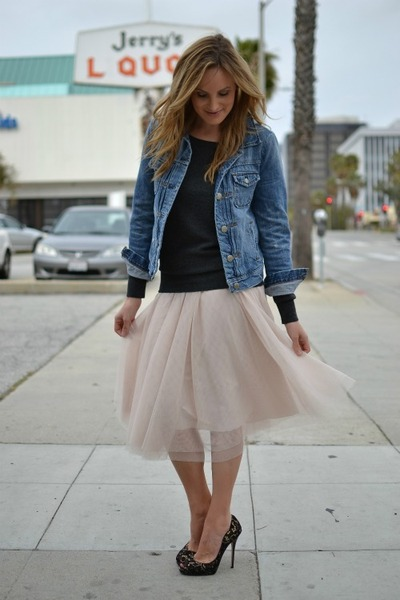 light pink tulle H&M skirt - navy denim jacket JCrew jacket - gray JCrew sweater