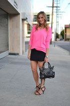 hot pink Gap shirt - black balenciaga bag - black Zara skirt