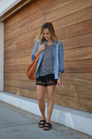 chambray JCrew shirt - tee monrow shirt - linea pelle bag - lace random shorts