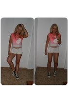 pink H&M shirt - white unknown brand shorts - black Converse sneakers