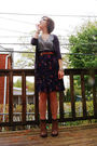Blue-thrifted-cardigan-gray-forever-21-t-shirt-purple-h-m-dress-brown-deen