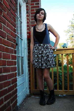 silver thrifted bracelet - black doc martens boots - white Forever 21 skirt