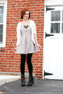 black Spring boots - silver asos dress - black Forever 21 leggings - green DIY n
