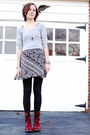 red doc martens boots - black modcloth dress - heather gray hollister sweater -