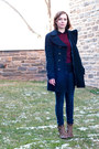 navy Forever 21 coat - brown Urban Outfitters boots - blue madewell jeans